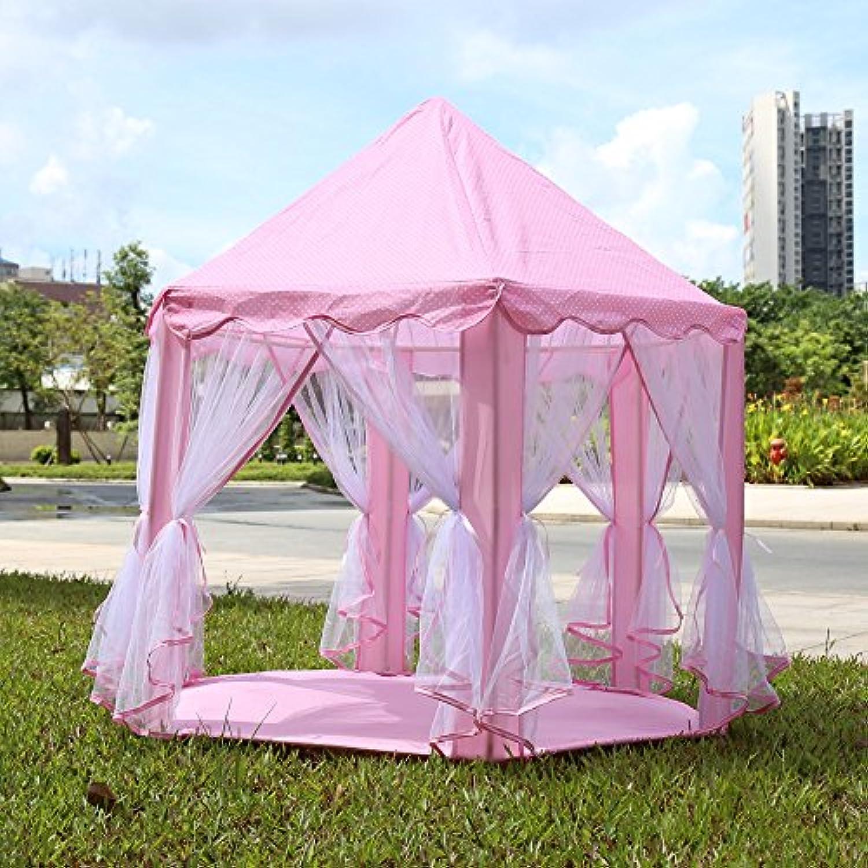 ポータブルPrincess Castle Play TentアクティビティFairy家インドアアウトドアToy Kids Cubby再生Hutライトピンク