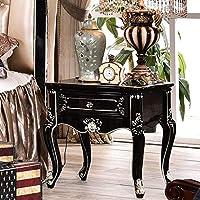 ベッドサイド用テーブル リビングルームカフェを処理するために使用する手彫りの木製のベッドサイドキャビネットのストレージハードウェア ホームベッドサイドテーブル (Color : Black, Size : 60x59x43cm)