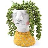 YIKUSH 6 Inch Head Planter Ceramic Flower Pot for Plant/Flower Planter,Set of 1