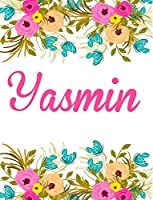 Yasmin: Personalised Yasmin Notebook/Journal for Writing 100 Lined Pages (White Floral Design)