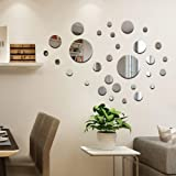 CUNYA 32 PCS Round Acrylic Mirror Silver Wall Decor Stickers, Removable DIY Self-Adhesive Circle Wall Art Decals Home Decorat