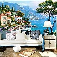 Lcymt カスタム3D壁画壁紙地中海の油絵風景の壁紙家の装飾リビングルームのソファテレビの背景壁紙-280X200Cm