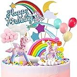 MOVINPE Unicorn Cake Topper, 2 Magic Unicorns Sculpture, 1 Rainbow, 1 Happy Birthday Banner, 2 Cloud, 4 Balloon, 12 Stars, 1