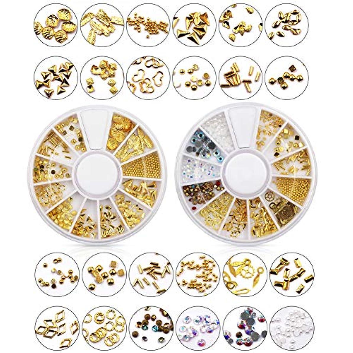 セールを必要としています中傷メーリンドス ネイルアートデザインパーツ ゴールドスタッズセット ジェルネイルレジン用 プロラインストーン&半円パール&合金 24種セット