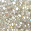 Rabbitgoo 窓 めかくしシート 食器棚シート ガラスが石坂になるフィルム 水で貼れる目隠しシート 光によってステンドグラス 貼ってはがせる 外から見えない(石坂 44.5 x 200cm)