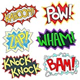 Superhero Party Cardboard Superhero Sounds Sayings Word Cutouts (6 different pcs in 1) 165''x 11'' per word BAM POW WHAM ZAP KABOOM KNOCK-KNOCK Superhero theme birthday supplies [並行輸入品]
