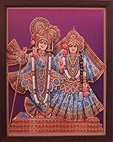Lord Radha Krishna Wearing Indian Traditionalドレス、一部Radhaの花の手、宗教に装飾ポスターwith美しいフレーム。