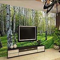 Hwhz カスタム壁画壁紙白樺の森自然の風景写真の壁紙レストランリビングルームの寝室のインテリアパネルの壁-280X200Cm