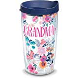 Tervis 1314904 Grandma Dainty Floral Insulated Tumbler with Wrap and Lid 16 oz Mug - Tritan Clear Navy Blue Lid 16 oz - Trita