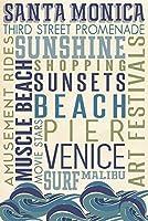 サンタモニカ、–Typography 12 x 18 Art Print LANT-56278-12x18