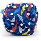 Nageuret Reusable Swim Diaper Adjustable & Stylish Fits Diaper Sizes N-5 (8-36lbs) Ultra Premium Quality for Eco-Friendly Bab