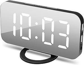 OYNOTE 目覚まし時計 置き時計 掛け時計 大型LEDミラー表面デザイン USB電源式 三段輝度調節 鏡用アラーム用 おしゃれ 卓上 デジタル 大音量 大きい液晶ディスプレイ部屋/オフィス/台所用 USBポート付き andriod/iphone に給電適用 18ヶ月保証付き
