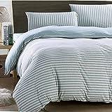 やわらかくい肌掛け布団カバー/綿100%縞模様寝具カバーセット/ボックスシーツ/枕カバー コットン ダブル