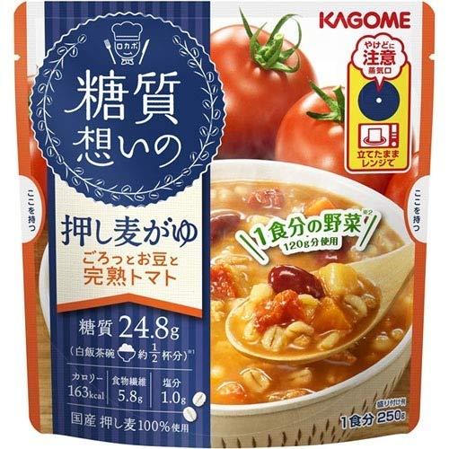 カゴメ 糖質想いの 押し麦がゆ ごろっとお豆と完熟トマト(250g) フード 米・雑穀類 ごはん・お...