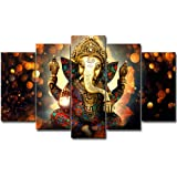 LiftGather 5pcs / set waterproof canvas painting elephant trunk God Ganesha HD print home wall hanging art prints modular pic