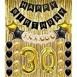 30歳の誕生日デコレーション パーティー用品 ハッピーバースデーバナー 30歳バルーン ゴールドとブラック Dirty Thirty SG042D