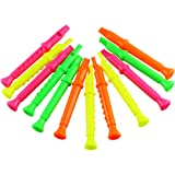 Etmact 5.5 Inches Plastic Recorders - Pack of 12 - Mixed Color Plastic Flute Musical Instruments Toy for Kid Party Favors, Ba