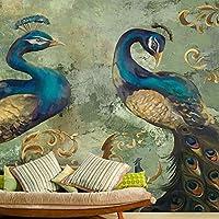 caomei 3D壁画壁紙レトロスタイルの孔雀の背景壁の装飾大壁画リビングルームのソファベッドルームの壁紙@ 300cm(W)* 200cm(H)