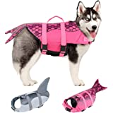 EMUST Dog Life Jacket Shark, Ripstop Dog Lifesaver Vests with Rescue Handle for Small Medium and Large Dogs, Pet Safety Swims