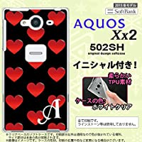 502SH スマホケース AQUOS Xx2 カバー アクオス Xx2 ソフトケース イニシャル ハート 黒×赤 nk-502sh-tp117ini F