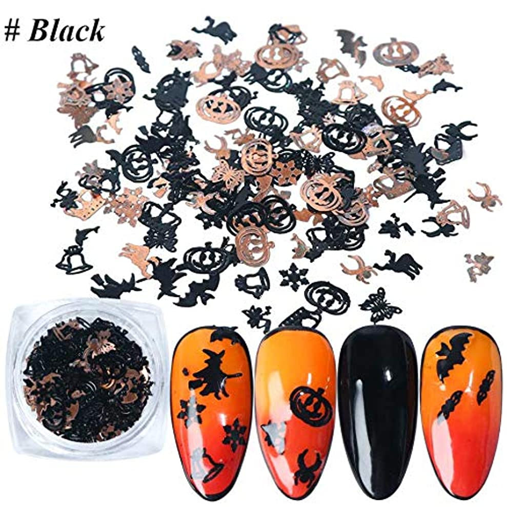 脆い内向きセットする120枚/ ボックス 12パターン ハロウィン ゴールド 冬ネイル かぼちゃ クリスマス ネイルパーツ ネイルデコレーションジェルネイル ネイルアート ケース入り (black)