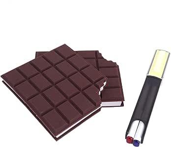 メモ帳*2 ボールペン付 付箋 手帳 無地 チョコレート かわいい 板チョコ ルーズリーフ式 学習帳 軽量 耐久性 持ち運び 便利 茶褐色