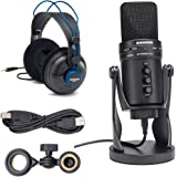 Samson G-Track Pro USB 24-bit Studio Condenser Mic with Audio Interface + Samson Professional Studio Reference Headphones – T