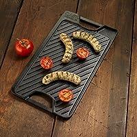 新しいブラックキッチン万能Heavy DutyリバーシブルLargeハンドルグリルGriddleパン