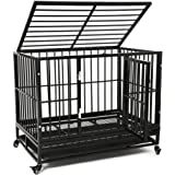 Large Heavy Duty Dog Cage, Large Dogs Crate with Two Prevent Escape Lock&Wheels, Strong Metal Dog Crate for Indoor&Outdoor,(1