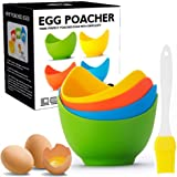 Egg Poacher - Poached Egg Cooker with Ring Standers, Food Grade Non Stick Silicone Egg Poaching Cup for Microwave or Stovetop