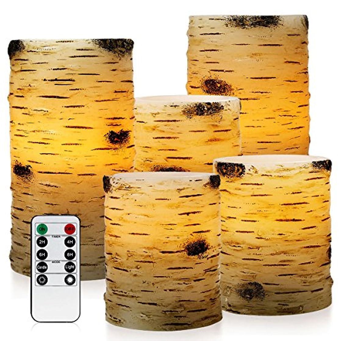 大腿洗練された監査pandaingのセット5ピラーBirch Bark効果Flameless LED Candles with 10-keyリモート制御と2 4 6または8時間タイマー機能