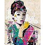 Huihuart 番号によるDIY着色絵画 数字による写真手描きのキャンバス絵画壁の写真リビングルームカラー絵画オードリーヘップバーン 40x50cm