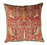 フランス製 【ART de LYS】 William Morris 8689R レッド Tree ゴブラン織りクッションカバー (50×50cm)