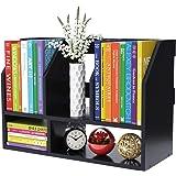 Desktop Bookshelf Wood Tabletop Bookcase 2 Tier Desk Storage Organizer Shelf Rack Book Stand File Holer Countertop with 5 Com