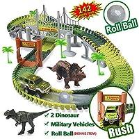 恐竜のおもちゃ 世界車トラックセット 142ピースの柔軟なトラックセット 恐竜玩具 ミリタリー車 プラスチックロールボール1個付属 男の子と女の子用