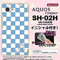 SH02H スマホケース AQUOS Compact カバー アクオス コンパクト ソフトケース イニシャル スクエア 白×青 nk-sh02h-tp766ini W