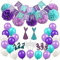パーティー 飾り セット マーメイド 女の子 誕生日 デコレーション ベビーシャワー ブライダルシャワー 76枚セット