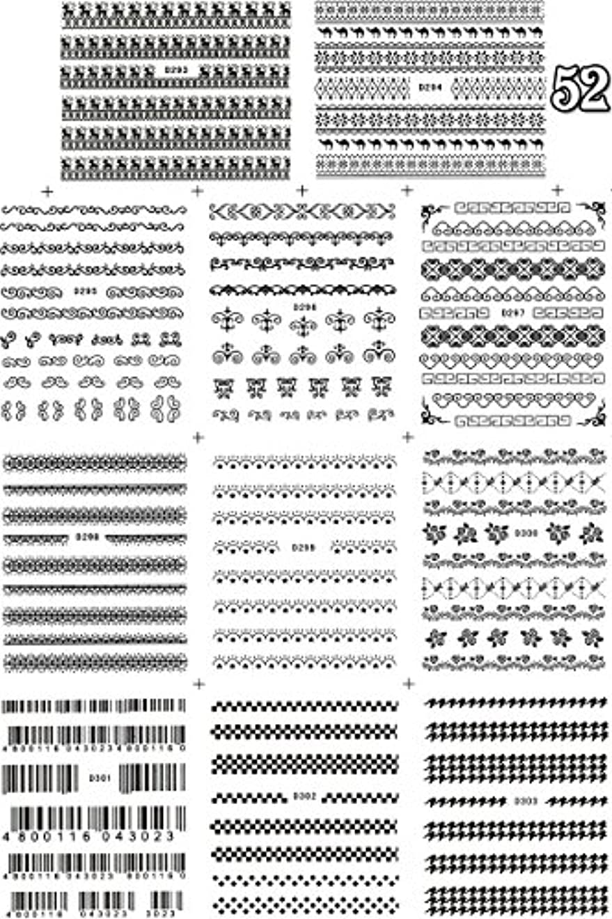 有限組み合わせるエーカー極薄、重ね貼りOK★ウォーターネイルシール デコレーション 11種セット (11種set-52)