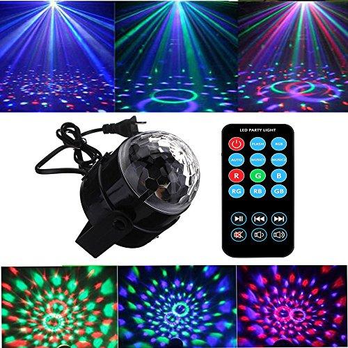 パーティーライト サウンドアクティベート ディスコボール ステージライト リモコン付き 3W LED 7色パターン 誕生日 KTV バー ウエディング ホリデー パブ用 ブラック EOTO-MigicB-001