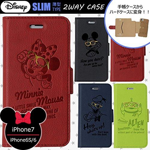 【カラー:ミニーマウス】iPhone7 iPhone6S iPhone6 ディズニー 2WAY ケース 手帳型ケース 手帳ケース ハードケース ハード 着脱式 ドナルド ミッキー ミニー エイリアン アイフォン7 アイフォン iphone 7 6s 6 スマホケース かわいい 動物 スタンド キャラクター カード収納 s-un_79200