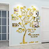 Gigicloud Wall Stickers Crystal Photo Frame Tree 3D Acrylic Living Room Bedroom Background Wall Decoration Golden Medium 129