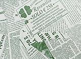 【フジパック】 英字新聞紙柄 包装紙 ラッピングペーパー 100枚 おしゃれでかわいいデザイン お花/プレゼント/ギフト (グリーン)