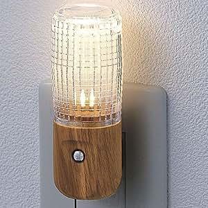 ELPA LEDナイトライト 明暗センサー 木目 PM-LW100(L)