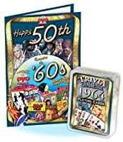 Happy 50th Birthday DVD Greeting Card & Trivia Playing Cards Combo: A Flickback Decade DVD Combo