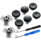 eXtremeRate 8 in 1 Black Metal Magnetic Thumbsticks Analog Joysticks for Xbox One, Xbox One Elite, Xbox One S, Xbox Series X,