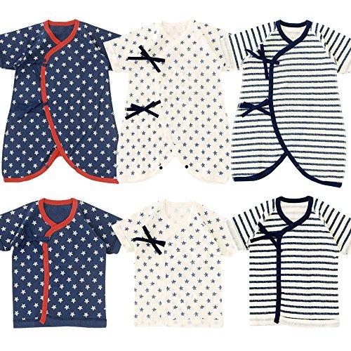( チャックル ) chuckle 星柄 & ボーダー 新生児肌着 6枚セット 【 通年素材 】 カラーなし 50-60cm