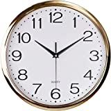 Foxtop 12 inch Silent Non-Ticking Quartz Decorative Wall Clock Battery Operated Arabic Numbers Display Living Room Bedroom Of