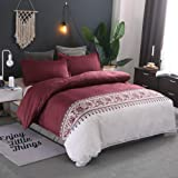 Printed Solid Color Duvet Cover Set with Zipper Closure, 3pc Soft and Luxury Beding Set, Quilt Cover 210x210cm - Red