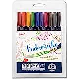 Tombow Fudenosuke Brush Pen - Hard - 10 Colors Set (WS-BH10C)