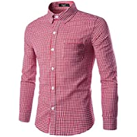 NUTEXROL Men Plaid Cotton Casual Slim Fit Long Sleeve Button Down Dress Shirts Red